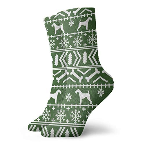 momnn Airedale Terrier Dog Fair Isle Christmas Sweater Pattern Print Med Green Unisex Athletic Stockings 11.8 inch Long Sock -