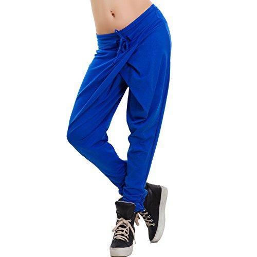 Toocool - Pantaloni donna harem cavallo basso portafoglio fitness casual nuovi AS-1720 Blu elettrico