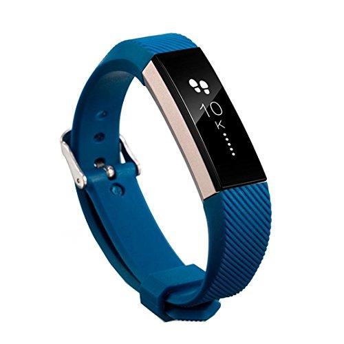 en Chino-Silikon Smart Watch Armband für Fitbit Alta HR Uhrenband mit Schnellverschluss Erstatzband Replacement Magnet Uhr Band Strap Uhrenarmband für Unisex (Dark Blau) ()