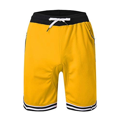 Mode Herren Lässige Einfarbige Sporthose Elastische Seil Stretch Mesh Pocket Lässige Plain Sports Shorts Amoyl Mesh-stretch-hut