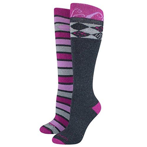 Lorpen Damen Merino Wandersocken TCXTM Socken (2er Pack) Medium Berry/Charcoal (Lorpen Socken Ski Merino)