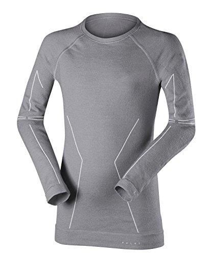 FALKE Kinder Wool-Tech Longsleeved Shirt Kids Sportunterwäsche, Grey-Heather, 110-116