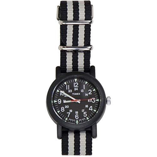 Timex Indiglo Orologio da Polso Uomo Analogico al Quarzo con Cinturino in Nylon Nero e Grigio