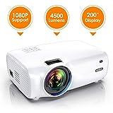 Vidéoprojecteur, WiMiUS 4500 Lumens Vidéo Projecteur Portable Full HD Soutien 1080P Rétroprojecteur 720P Native Mini Projecteur LED 60000 Heures HDMI/VGA/AV/TF/USB pour Home Cinéma ou Plein air