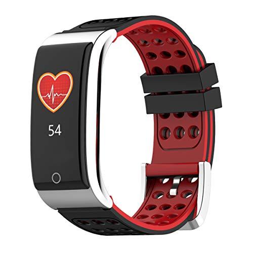 TOOGOO E08 Intelligente Armband Fitness Tracker Intelligente Armband Herzfrequenz Messer EKG/PPG Blutdruck Intelligente Armband Uhr Für Ios Android Handy, Schwarz Rot