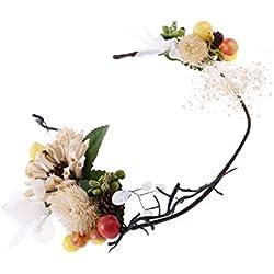 Gazechimp Corona de Flor y Fruta de Imitación de Mujeres Estilo Boho Bayas Vides Guirnalda Apoyo de Fotografía Adornos de Pelo de Novias