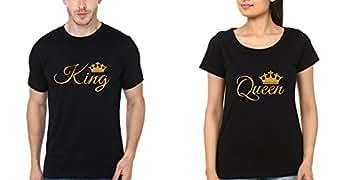 Ektarfa King Queen Black Couple Tshirt Pair, Tshirt for Couple (DTG Print) (Set of 2)(Golden Print) (Man XL, Female 2XL)