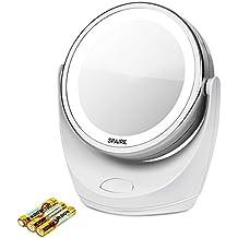 Spaire Kosmetikspiegel LED 7X/1X Vergrößerung Eitelkeitsspiegel mit Leuchten Doppelseitiger LED Kosmetikspiegel mit 360 Grad Rotation für Schönheit, Reise, Hautpflege