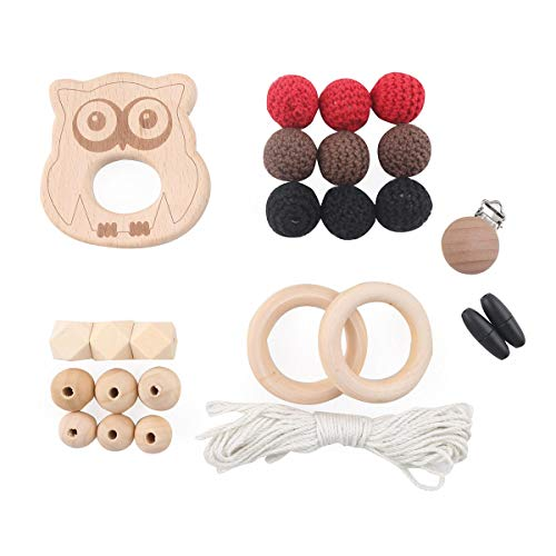 baby tete DIY Baby Holz Beißring Häkeln Perlen Schnuller Clips Set Eule Halloween Geschenk Kinderkrankheiten Spielzeug für Kleinkinder