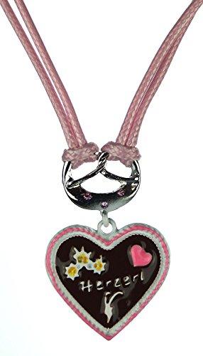 Trachtenschmuck Trachten Damen Halskette Halsband Band Kette Edelweiss Anhänger passend zum Dirndl Bluse Kniebundhose Lederhose Oktoberfest Wiesnfest Model-1 (rosa)