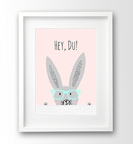 Kinderzimmer Bild ungerahmt, Hipster Bunny, rosa