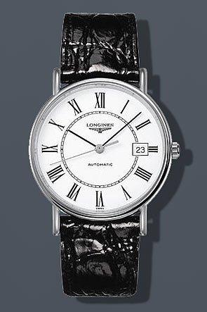 Longines Les Grandes Classiques de Longines Présence / orologio uomo / quadrante bianco / cassa acciaio / cinturino alligatore nero