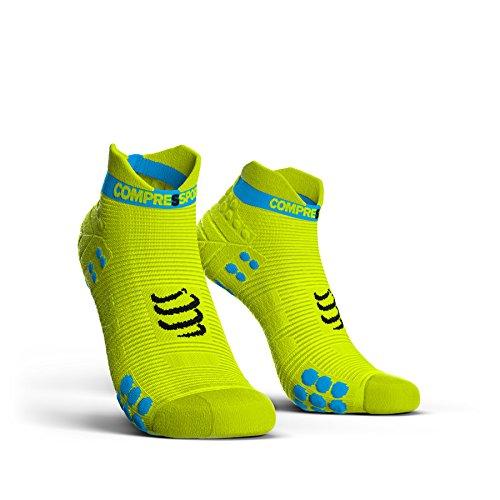 Compressport Pro Racing V3.0 Run Low Socks Fluo Yellow Schuhgröße T1   35-38 2018 Laufsocken