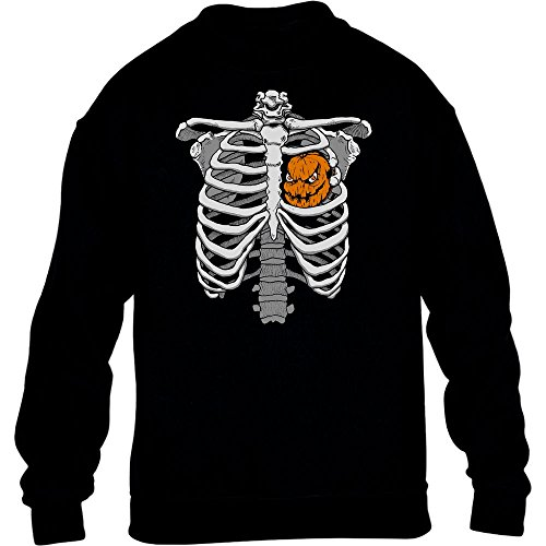 Halloween Skelett Brustkorb Mit Kürbis Kinder Pullover Sweatshirt X-Large (Jack Kostüm Of Halloween Hearts)