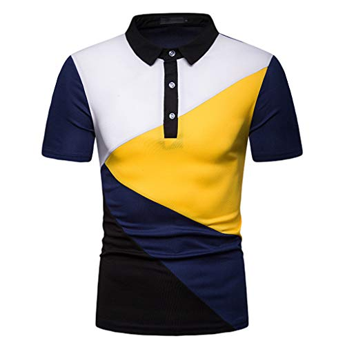 Shangqi Herren T-Shirt Kurzarm Shirt Mit Rundhalsausschnitt Menzino Basic Kurzarm Herren Pique Poloshirt Regular Fit Mit Brusttasche Polo Poloshirt T-Shirt Shirt Hemd Party Slim Herren Kurzarm Pique