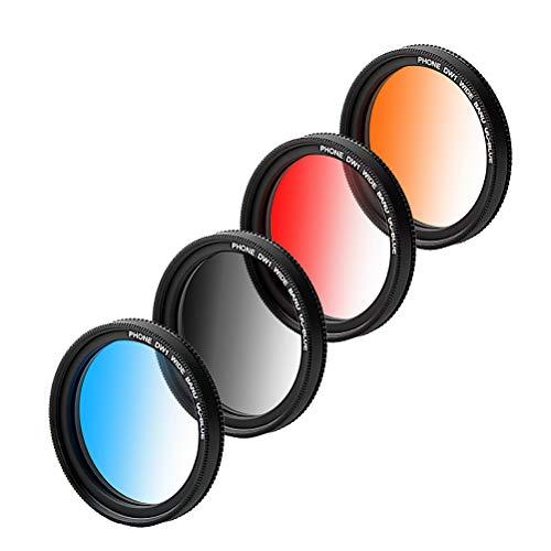 Hemobllo 4 Stück Clip-on 37mm Handy-Objektiv Filter Ein-Objektiv Gradient Filter mit Telefon Clip