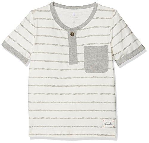 NAME IT Baby-Jungen T-Shirt Nmmfaril SS Top, Mehrfarbig (Grey Melange), 104 (Henley Mini T-shirt)