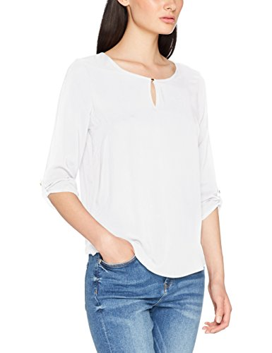 VERO MODA Damen Bluse Vmbuci 3/4 Fold-Up Top NOOS, Weiß (Snow White), 40 (Herstellergröße: L) (3/4 White Sleeve Top)