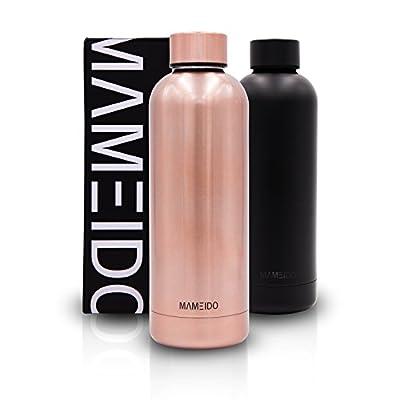 MAMEIDO Trinkflasche Edelstahl - 500ml, 750ml Thermosflasche - auslaufsicher, Kohlensäure geeignet, BPA frei - isolierte Wasserflasche, doppelwandige Isolierflasche, schlanke leichte Thermoskanne