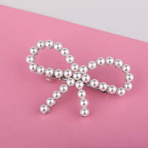 Hioowiu Bogen Haarnadel Pony Perle weiblich@Bogen 1_Weißes K -