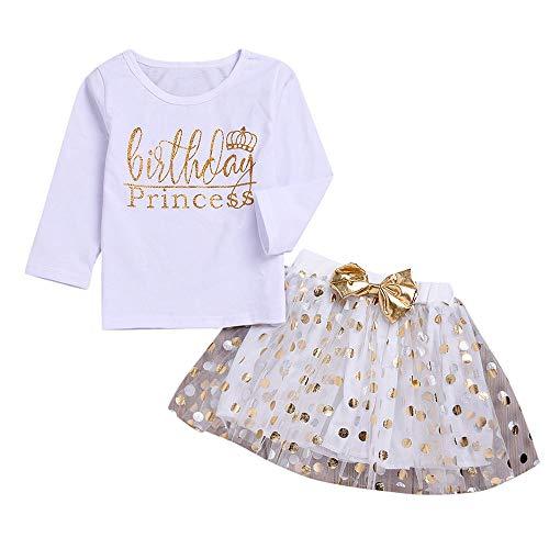 �dchen Brief Gold Powder Top T-Shirt + Hell Gold Welle Punkt Bogen Mesh Rock Kind Mädchen Geburtstag Brief Dot Print Bowknot Tops T-Shirt + Tutu Rock Set Kleidung ()
