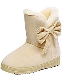 Minetom Mujeres Otoño Invierno Botines Zapatos Calientes Moda Botas Con Bowknot