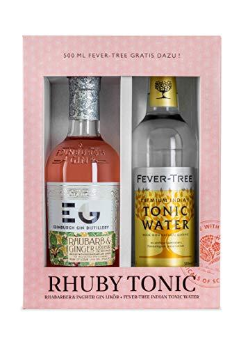 "Edinburgh Gin Geschenkset: Pink Gin Tonic ""Rhuby Tonic"" - 0.5l Rhubarb Ginger Gin Likör + 0.5l Fever-Tree Indian Tonic Water, MEHRWEG"