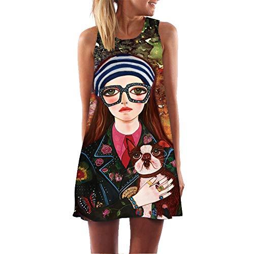 binglinshang Femmes Mini Robe De Plage Femme D'été Robe sans Manches 2019 Mode Fille Chien Imprimé Vintage Boho Robe Casual Femmes Vêtements, XL