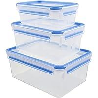 Emsa Clip & Close Set de 3 Conservadores Herméticos de Plástico Rectangular, higiénico, no retiene olores ni sabores 100% Libre de BPA, Transparente y Azul, 1 L/2.3 L/3.7 L