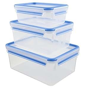 Emsa 508567 3-teiliges Frischhaltedosenset, Verschiedene Größen, Transparent/Blau, Clip & Close