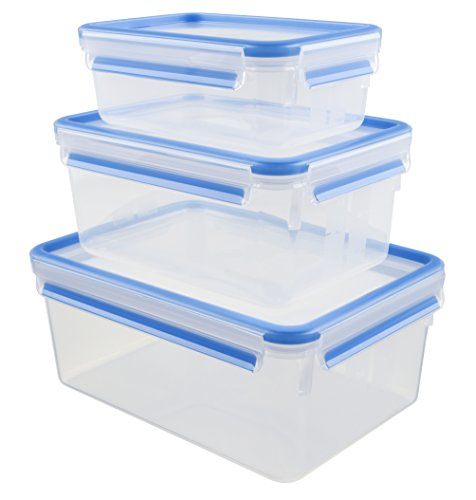 Emsa 508567 Food Clip & Close, Plastik, Transparent / Blau, Inhalt in Liter 1 / 2,3 / 3,7, Satz mit 3 Boxen 3.7