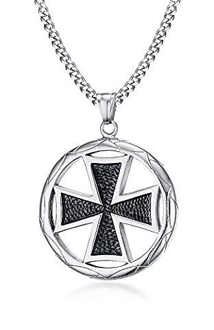 Vnox Men's Stainless Steel The Knights Templar Malta Maltese Cross Round Pendant Necklace Silver,Free