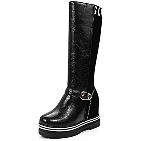 Tire de la mujer ronda puntera cerrada High Heels mezclar materiales mediados Top botas,Golden,US10.5 / UE42 / UK8.5 /