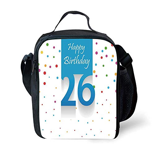 ZKHTO School Supplies 26th Birthday Decorations,New Age Anniversary Party Polka Dots Colorful Spots Artsy Design,Multicolor for Girls or Boys Washable (Party Age Supplies Ice)