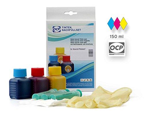 Preisvergleich Produktbild Nachfüllset für HP 300, 364, 901, 920 Druckerpatronen color, Refill Set 150 ml für HP Photosmart C 4690, C 4610, Deskjet D 5660, HP Envy 100, 110, 111, 114, 120, 121 und andere, non-OEM