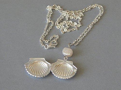 Silber Ton Oyster Shell Medaillon Anhänger mit Süßwasser-Perle, Halskette, Silber Oval Link Kette