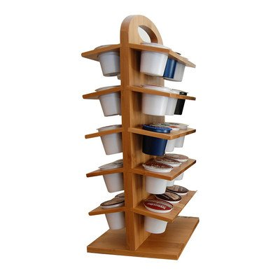 Kitchen Elements Bamboo Coffee Cup Holder with Lazy Susan Bamboo Lazy Susan