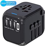 Universal Travel Adapter,International Power Adapter Worldwide All in One AC Outlet Power Plug Adapter 3 USB +