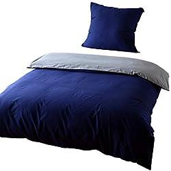 KEAYOO Bettwäsche 135x200 cm Blau + Grau 100% Baumwolle Bettbezug mit Reißverschluss 2 teilig