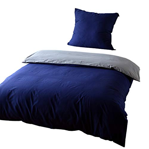 KEAYOO Bettwäsche 135x200 cm Blau + Grau 100{3a771150a4aa94ad52ce7a23d94e50636d995670342c30ed879babf589e279b0} Baumwolle Bettbezug mit Reißverschluss 2 teilig