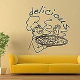Hwhz 57X62 Cm Pizza Restaurant Wall Decalcomania Da Cucina Cucina Food Wall Art Decorazione Delicious Pizza Design Wall Stickers Poster Rimovibile