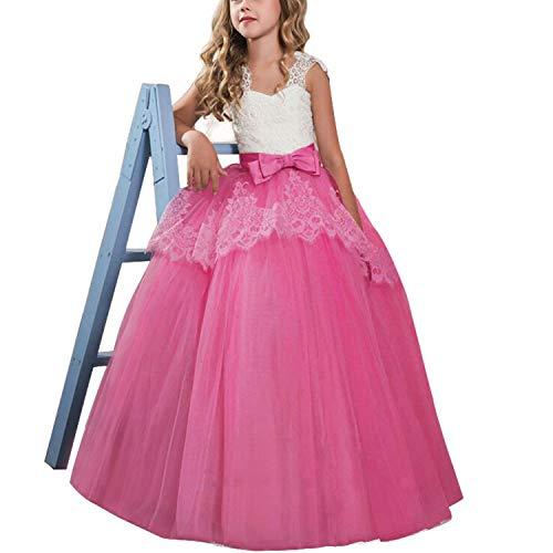 TTYAOVO Mädchen Blume Brautkleider Spitze Prinzessin Pageant Kleid Prom Ballkleid Größe (140 02 Rose 8-9 Jahre -