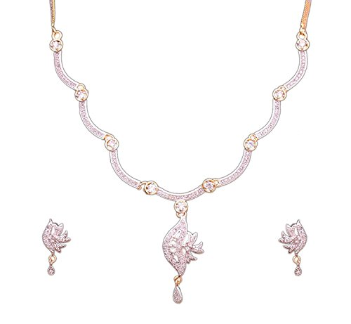 Sitashi Imitation/Fashion Jewellery Valentine Collection Stylish American Diamond Occasion Wear Pendent Necklace Set For Women (Leaf)