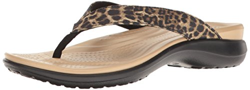 crocs Damen Caprivflip Pantoffeln, Mehrfarbig (Leopard), 38/39 EU (6 UK)