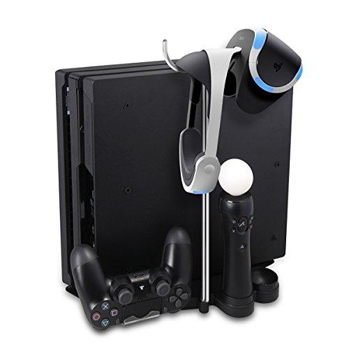 Ladegerät Standfuß, Megadream 5 in 1 Multi-Funktions Ladegerät& Ständer Halter-Unter für Sony PlayStation 4 Pros& Slim Ständer/ Dual PS Motion Controller Ladegerät / PS4-Controller Dual Charger/ Hanging Sony 3D Headset& Kopfhörer