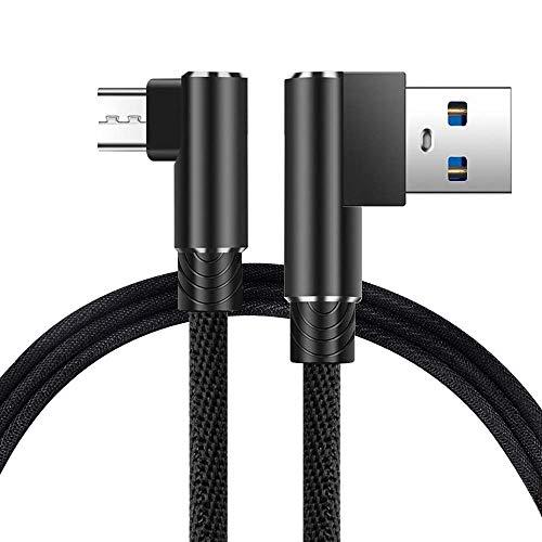 Cuitan Micro USB Kabel, 2M USB Schnellladekabel 90 Grad Rechtwinklig Legierung Nylon Geflochtene Ladekabel für Android Smartphones, Samsung, HTC, Sony, Nexus - Schwarz - Grad Usb