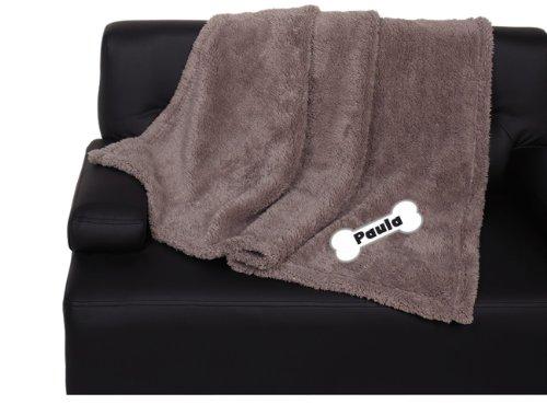 hundeinfo24.de SUPER SOFT LONG PLÜSCH Hundedecke mit Namen und Motiv 150x100cm grau-braun Katzendecke Welpendecke