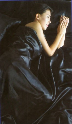 SATIN 4pc SINGLE bed Duvet Cover Bedding Set BLACK