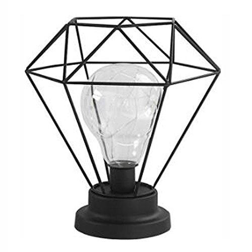 Wsxxn Lámpara de mesita de Noche de Hierro Forjado Negro Estilo de Personalidad Simple Lámparas de Mesa de Estilo Americano