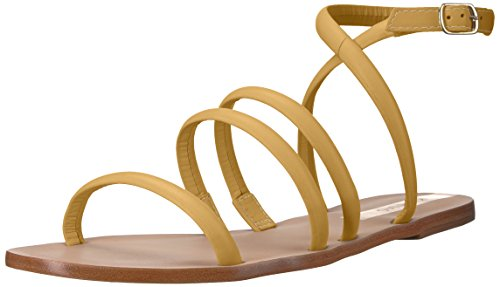 KAANAS Damen DIAMANTINA Strappy Flat Leather Flache Sandale, Marigold, 38 EU Ankle Wrap Strappy